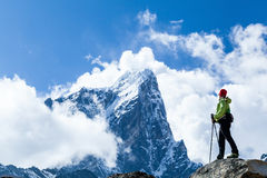 Woman hiker in mountains Royalty Free Stock Image