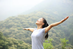 Woman hiker open arms Stock Image