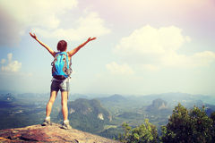 Woman hiker open arms Royalty Free Stock Photos