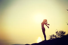 Woman hiker open arms royalty free stock photo