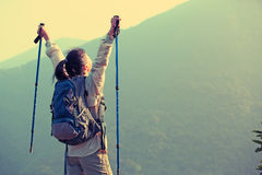 Woman hiker open arms Stock Photos