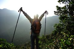 Woman hiker open arms Royalty Free Stock Photography