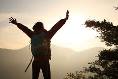 Woman hiker open arms Stock Photography