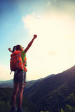 Woman hiker open arms Royalty Free Stock Images