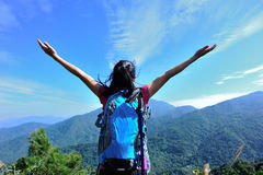 Woman hiker open arms Royalty Free Stock Image