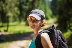 Woman hiker outdoor portrait Stock Photo