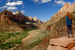 Woman Hiker Overlooking Zion Canyon. Stock Photos