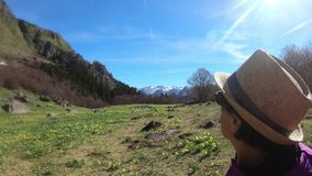 Woman hiker on the path in the french Pyrenees. A woman hiker on the path in the french Pyrenees stock video footage