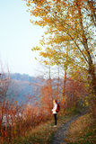 Woman hiker on the path in woods Royalty Free Stock Images