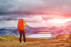 Woman hiker photographer Royalty Free Stock Images