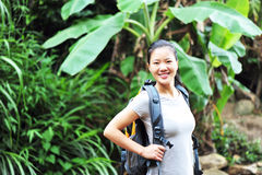Woman hiker at rainforest Royalty Free Stock Photography