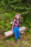 Woman hiker rest in forest Stock Photo