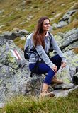 Woman hiker resting Royalty Free Stock Photos