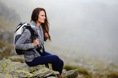 Woman hiker resting Stock Photo