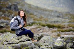 Woman hiker resting Royalty Free Stock Photo