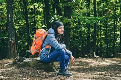 Female hiker resting Royalty Free Stock Images