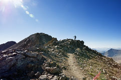 Woman Hiker On Ridge Royalty Free Stock Images