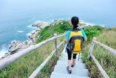 Woman hiker seaside Royalty Free Stock Photo