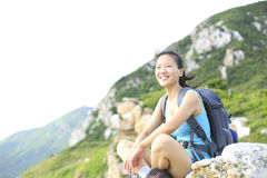 Woman hiker seaside Royalty Free Stock Image