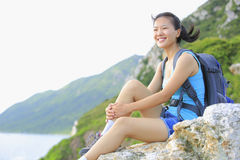 Woman hiker seaside Royalty Free Stock Photos