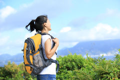 Woman hiker seaside Stock Photography