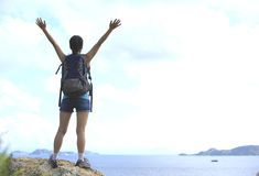 Woman hiker seaside Royalty Free Stock Images