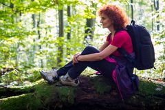 Hiker resting in the forest. Woman hiker sitting on a log after a long trail Stock Images