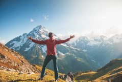 woman hiker mountain top stock photo image of cheerful