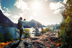 Woman Hiker Takes A Pictures Stock Images