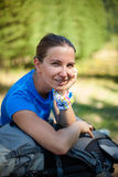 Woman hiker takes rest Royalty Free Stock Images