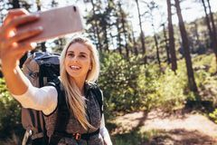 Woman hiker taking photograph in forest Royalty Free Stock Photography