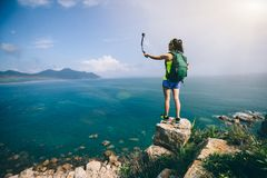 Woman Hiker Taking A Selfie Royalty Free Stock Photos