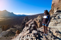 Woman Hiker in Teide National Park, Tenerife Royalty Free Stock Photography