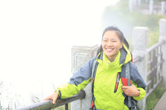Woman hiker on top of emei mountain Stock Photos
