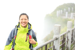 Woman hiker on top of emei mountain Royalty Free Stock Photos