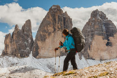 Woman hiker on  top of mountain Stock Image