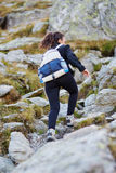 Woman hiker on a trail Royalty Free Stock Images