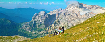 Woman Hiker Traveller in Mountains Panoramic Lands Royalty Free Stock Photography