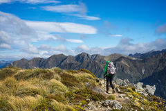 Woman hiker walking on an alpine section of the Kepler Track Stock Photography