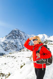 Woman hiker walking in Himalaya Mountains, Nepal Royalty Free Stock Image