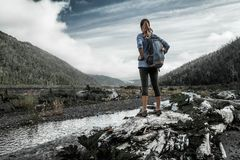 Woman hiker royalty free stock image