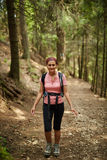 Woman hiker in the woods Stock Photos