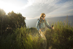 Woman hiker. XL size Royalty Free Stock Photos