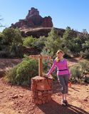 A Woman Hikes the Bell Rock Trail Stock Photo