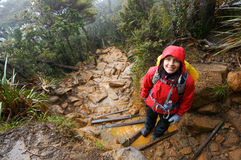 Woman hikes wet muddy day Stock Photography