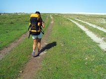 Woman hiking. In National Park of  Lençois Maranhenses - North of Brazil Royalty Free Stock Images