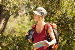 Woman hiking Stock Images