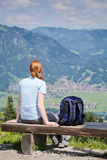 Woman Hiking and Alpine View stock photos