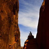 Woman Hiking in Arches National Park Stock Photos