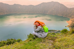 Woman Hiking Around The Quilotoa Lake In Ecuador stock images